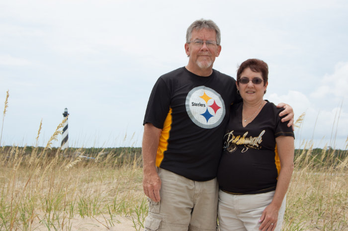 Kevin and Beth Humbrecht in Front of Hatteras Lighthouse