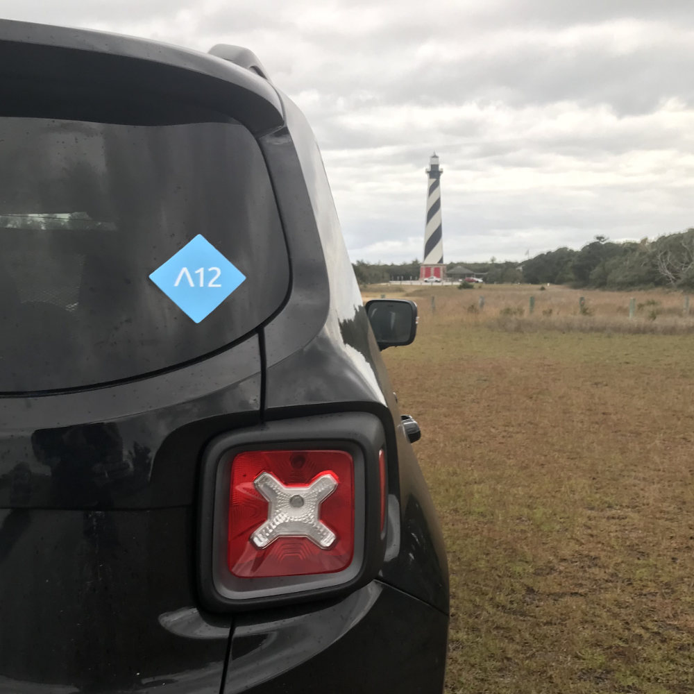 A12 Sticker on Jeep