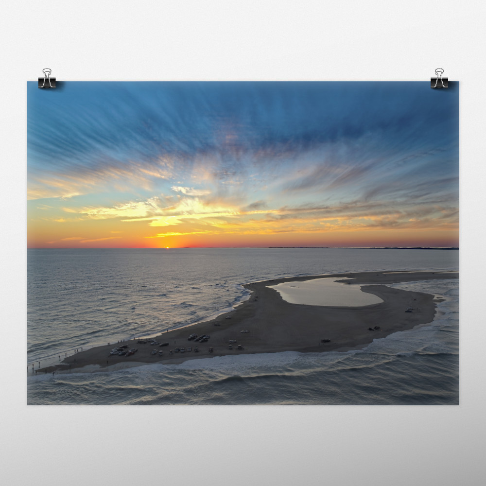 Mockup of photo print of a sunset over Shelly Island, NC