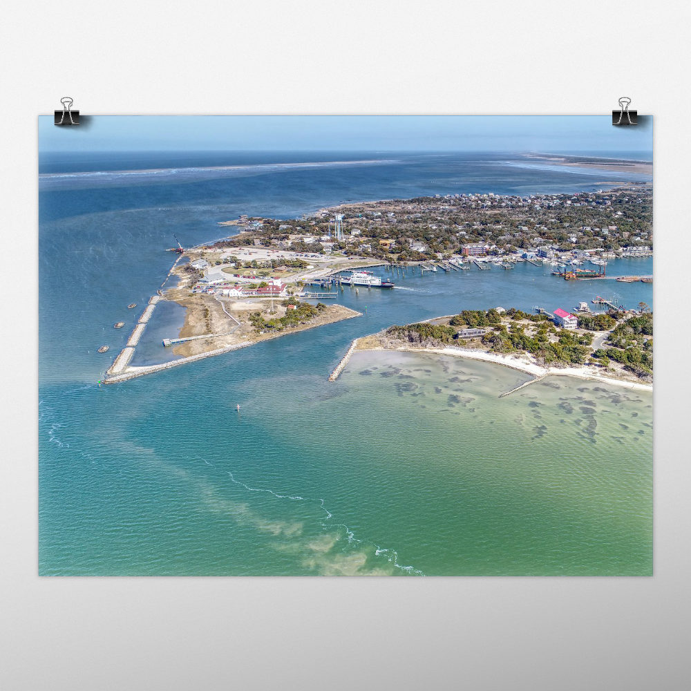 Mockup of photo print of Silver Lake on Ocracoke Island, NC
